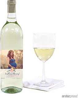 Andaz Press Photo Personalized Floral Roses Baby Shower Collection, Wine Bottle Labels, 20-Pack, Custom Image