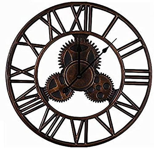 GANG 45 cm Gear Iron Art Circular Wall Reloj Números Romanos Estilo Moderno Creativo Vintage Silent Wall Clock Watch Forjado Metal Industrial Iron Clock Craft Reloj de cocina