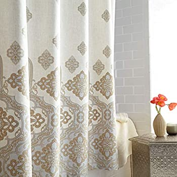 DS CURTAIN Hudson Waterproof Fabric Printed Polyester Beige Shower Curtain for Bathroom,72  W x Extra 78  H