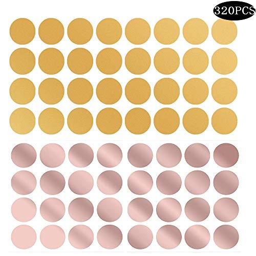 Integrity.1 320 Stück Wandtattoo Goldene Punkte,Rose Gold Dots Aufkleber Kunst Vinyl Abziehbild Wandbilder Home Decoration für Wohnräume und Kinderzimmer