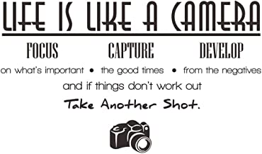 ElecMotive Life is Like a Camera Focus Capture Develop and Take Another Shot Vinyl Wall Decals Quotes Sayings Words Art Decor Lettering Vinyl Wall Art Inspirational Uplifting (2.3` x 1.2`)