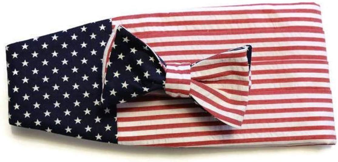 American Flag Seersucker Cummerbund & Pre-Tied Bow Tie