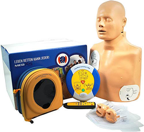 MedX5 (Upgrade 2020) 2in1 Traningsset, Reanimationspuppe + halbautomatischer Trainingsdefibrillator mit HLW und Herzdruckmassage Anweisungen, Übungsdefibrillator PAD 500P, Defibrillator für Trainer, Ausbilder, Schulen
