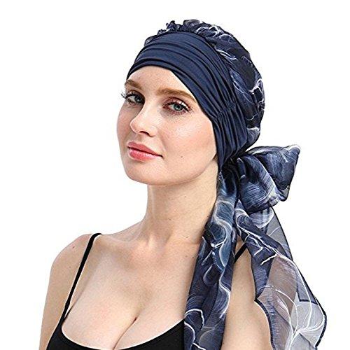 VECDY Gorro, Oncológico Yoga con Bambú Hipoalergenico Gorra De Cola Larga con Capucha De Gasa Musulmán Estampada para Mujer Sombrero De La Cabeza del Pañuelo Suave