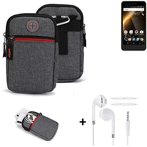 K-S-Trade® Gürtel-Tasche + Kopfhörer Für Allview P6 Energy Mini Handy-Tasche Holster Schutz-hülle Grau Zusatzfächer 1x