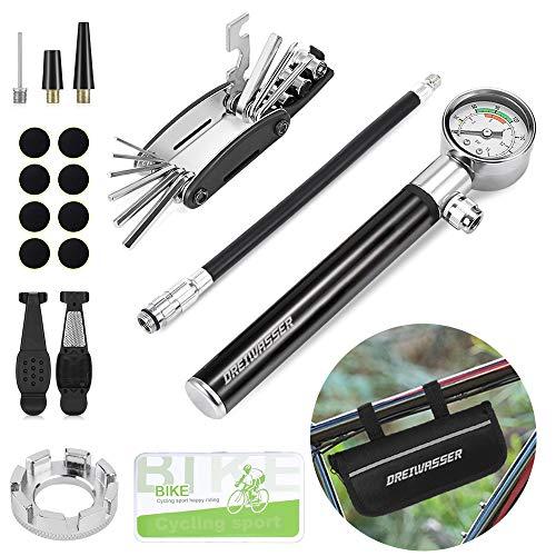 DreiWasser Fahrrad Werkzeugsets, Fahrrad Reparaturset mit Tragtasche inkl. Luftpumpe mit Manometer, 16 in 1 Multiwerkzeug, Flickzeug, Schrauber, Reifenheber, Speichenschlüssel und Feile