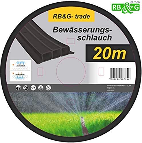 RBG Schlauch-Regner Feiner Sprühregner für die Bewässerung, Länge 20 m, anschlussfertig ausgestattet, schwarz, individuell verkürz- oder verlängerbar