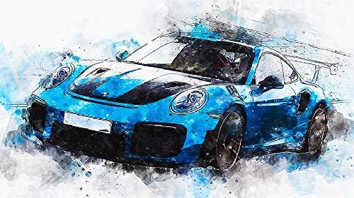 Qingdewan Puzzle 1000 Teile Erwachsenen Kind Puzzles-Blaues Auto-Aus Holz Puzzle Panorama Art DIY Leisure Game Fun Geschenk Spielzeug Geeignete Freunde Familie