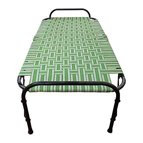 AARAM CHARPAI UDYOG Nylon Metal finish Niwar Folding Single Portable Bed (30 X 72 Inch, Multicolour)