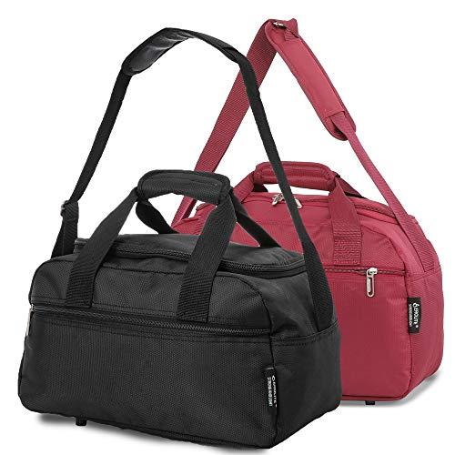 Aerolite 40x20x25 New November Ryanair Maximum Size Holdall Cabin Luggage Under Seat Flight Bag (Black + Wine)