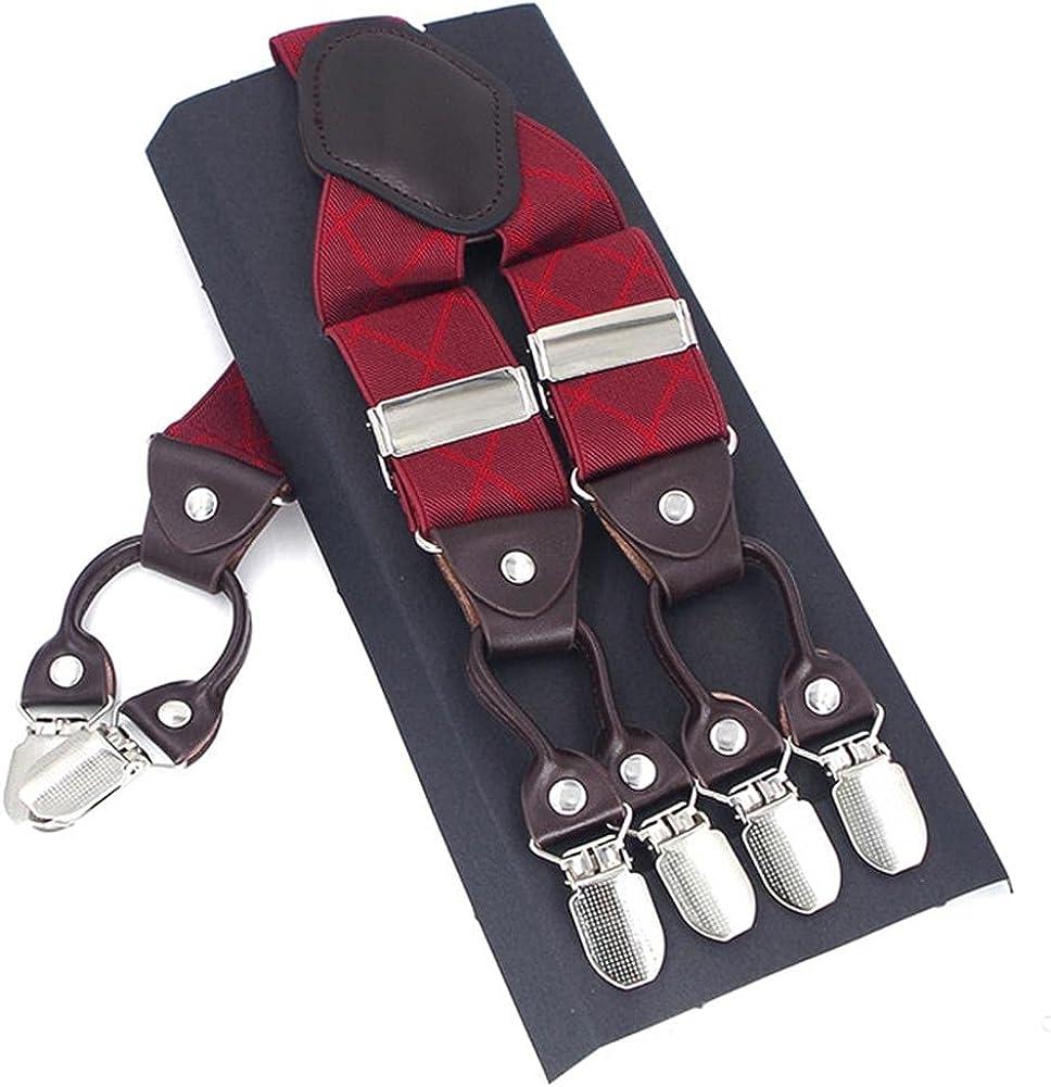 Fashion Leather 6Clips Braces Male Casual Suspensorio Tirante Trousers Strap Father/Husband 3.5X120Cm,White