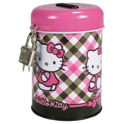 Hello Kitty Spardose Metall Sparbüchse Sparschwein Porzellan 11cm mit Schloß