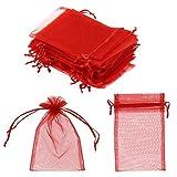 SUVIA 100pz 9x12cm Borse Organza Sacchetti Bianco Bustina Organza Portaconfetti per Nozze Regalo Caramella Partito Gioielli (Rosso, 10 x 15cm)