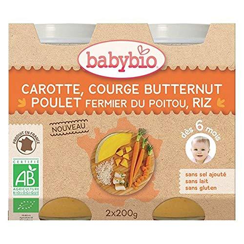 Babybio Pots carotte, butternut, poulet fermier & riz, dès 6 mois, bio - Les 2 pots de 200g