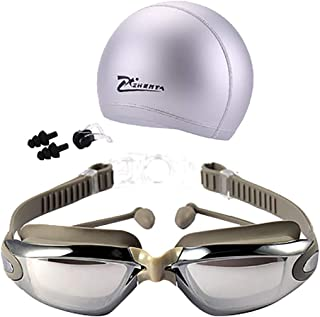 CapsA Swim Goggles Swimming Goggles Anti-Fog UV Protection Coated Lens No Leaking with Swim Cap Nose Clip Earplugs Case for Men Women Adult Youth Kids