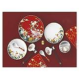 ZZL - Set da 18 piatti piatti da tavola in porcellana Bone China, decorati, forno a microonde e lavastoviglie, resistenti (colore: rosso)