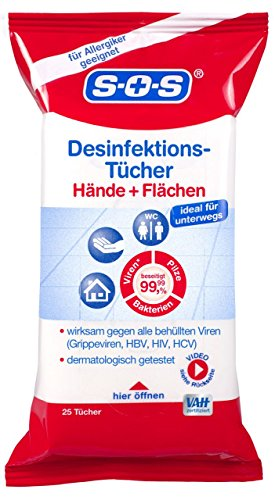 SOS Desinfektions-Tücher, Tücher zur Haut- und Handdesinfektion, Desinfektion von Gegenständen und Flächen, gegen alle Bakterien, Pilze und behüllten Viren, auch für Allergiker, 1 x 25 Tücher
