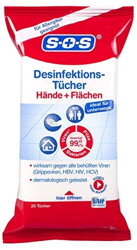 SOS Desinfektions-Tücher 25 Stück Desinfektion von Händen, Haut und Gegenständen