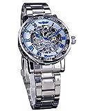 Winner Diamond Dial Roman Number Display Stainless Steel Transparent Skeleton Mechanical Wrist Watch