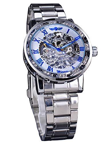 Reloj mecánico con esfera de diamante y números romanos, de acero inoxidable, transparente, con esqueleto, mecánico