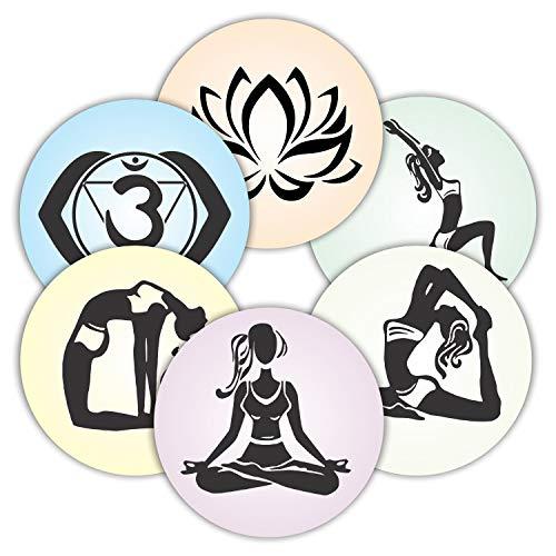 Yoga-Aufkleber, Siegeletiketten – (120 Stück) 5,1 cm große, runde Aufkleber für Wand, Laptop, Wasserflaschen, Urlaub, Grußkarten, Geschenkumschläge, Boxen