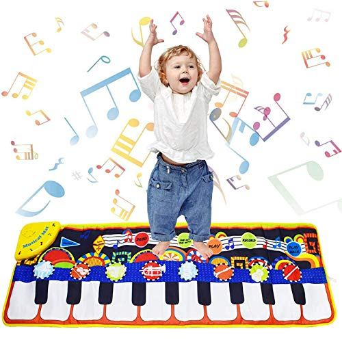 Piano Musical Mat, Kids Dancing Mat Keyboard Playmat, Soft Baby Early Education Portable Dance Music Piano Keyboard Carpet Musical Touch Play Game Toy Gifts for Kids Toddlers Girls Boys (Black)