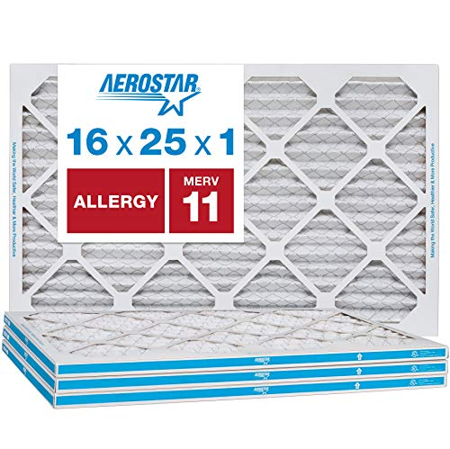 Aerostar Allergen & Pet Dander 16x25x1 MERV 11 Pleated Air Filter, Made in The USA, (Actual Size: 15 3/4'x24 3/4'x3/4'), 4-Pack