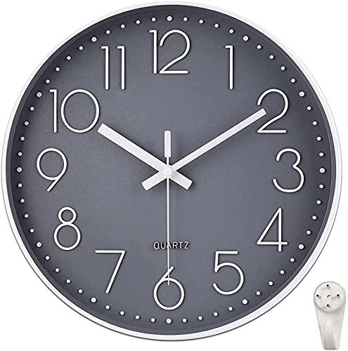 Reloj de Pared Moderno silencioso, sin tictac, Funciona con Pilas, Redondo, fácil de Leer, Relojes de Pared de Cuarzo para Sala de Estar, Cocina, Escuela, Oficina (Gris)