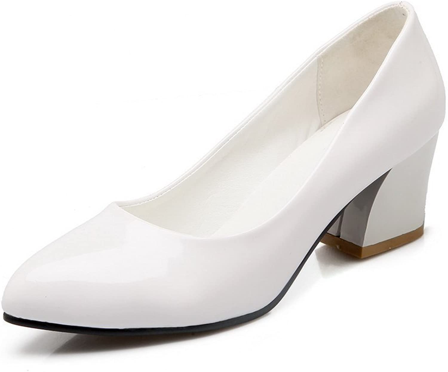 BalaMasa Womens Chunky Heels Solid Patent Leather Pumps-shoes