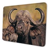 マウスパッド ゲーミングマウスパッド-水牛のクローズアップ写真 滑り止め デスクマット 水洗い 25x30cm