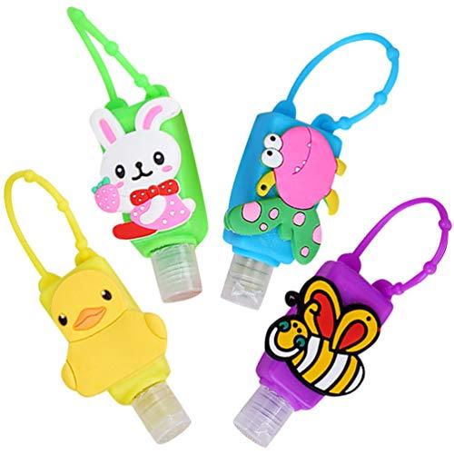 heekpek Botellas de Viaje Portátiles para Niños de Silicona para Desinfectante de Manos 4 Pack Contenedor de Viaje Accesorios Contenedor Desinfectante de Manos a Prueba de Fugas Rellenable (Animal)