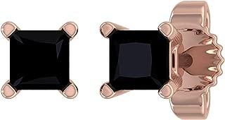 1/4 Carat Princess Cut Black Diamond Stud Earrings in 14K Gold