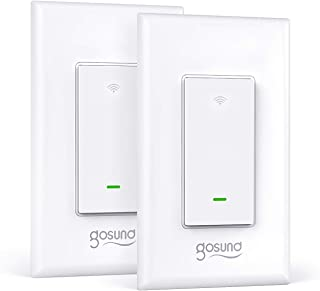 Smart Light Switch, Gosund Upgraded 2.4Ghz Wifi Switch Works with Alexa, Google Home, Remote Control and Schedule, Neutral Wire Required, Single-Pole, No Hub Required, ETL and FCC Listed (2 Pack)