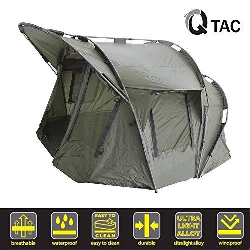Q-Tac Bivvy Deluxe - Hochwertiges 1 - 3 Mann Angelzelt, Polyester mit 210D PU Beschichtung, Wassersäule 10 000 mm