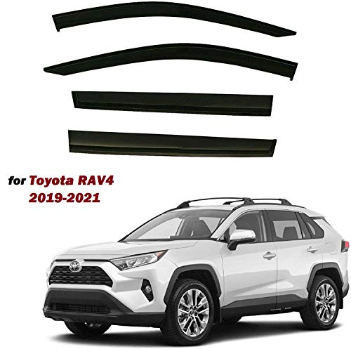 Black Tinted Side Window Vent Visor Deflectors Rain Guards for Toyota Rav4 2019 2020 2021 - 4 Piece set