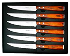 ▶1. The UMOGI Steak knives Advantage: Sleek blade surface. They are made of durable German Stainless steel, rockwell hardness(HRC) 56±2. Premium high-carbon stainless steel ensure its exceptional strength, durability and stain resistance, strong anti...