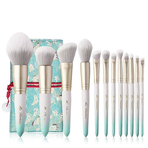 Juego De Brochas De Maquillaje Silueta 12 pinceles de maquillaje súper blando de fibra de pelo azul y blanco del color del gradiente portátil del maquillaje del sistema de cepillo. Adecuado Para Maqui