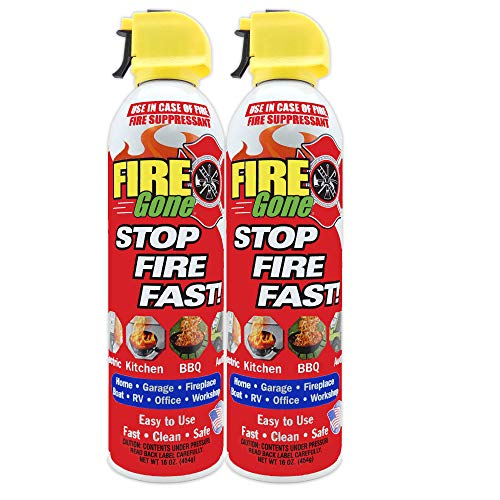 Fire Gone 2NBFG2704 White/Red Fire Suppressant Canisters - 16 Ounce, (Pack of 2 Units)