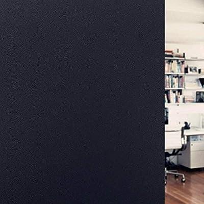 "Artviva Blackout Window Film 100% Sun Blocking Film Privacy Static Glass Window Cling Residential Window Tinting Treatment for Room Darkening/Privacy/Day Sleep - No Glue, Easy Installation 35.4""x79"""