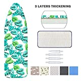 Ironing Board Cover and Pad Standard Size 15' x 54',Elastic Edges and 4 Adjustable Fasteners Make 3 Layer Padded Ironing Board Cover Surface Smoother,1 Large Protective Scorch Mesh Cloth