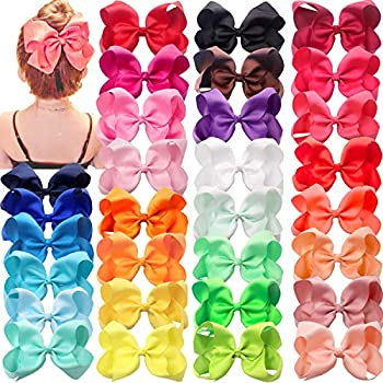 30 Colors Baby Girls Bows Clips 6  Big Hair Bows Alligator Har Clips Head Wear for Girls Toddler and Children