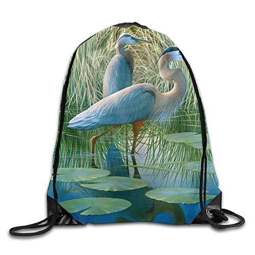 uykjuykj Tunnelzug Rucksäcke, Maryland Blue Heron Cool Kids Drawstring Bag Capacity String Backpack Volleyball Maryland Blue Heron 98 Lightweight Unique 17x14 IN