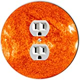 Rikki Knight RND-OUTLET-184 Planet Sun Round Single Outlet Plate