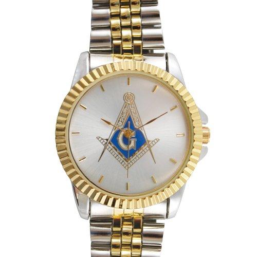 Masonic Two Toned Stainless Steel Wristwatch Foundation Symbol of Freemasons