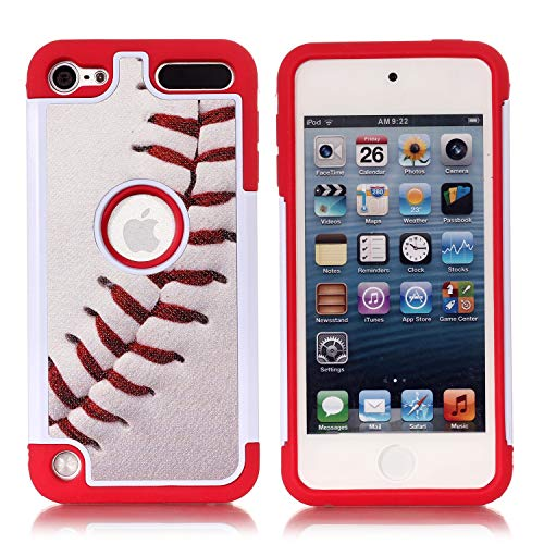 Apple iPod Touch 6th Case iPod Touch 7 Cover  Baseball Sports Pattern Shockproof Hard PC and Inner Silicone Hybrid Dual Layer Armor Defender Case for Apple iPod Touch 5 6th iPod Touch 7
