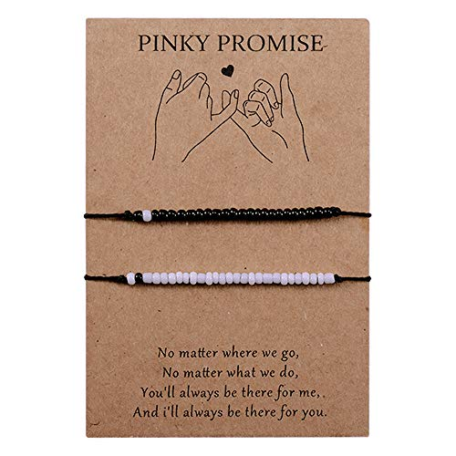 CheersLife 2PCS Black White Beads Friendship Bracelets Pinky Promise Distance Matching for Women Girls Best Friends Mom Daughter Relationship String Wish Handmade Cord Mother's Day Gifts