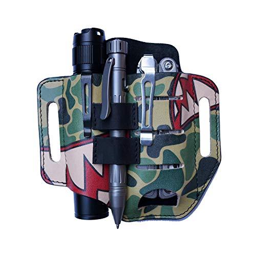 VIPERADE PJ13 EDC Lederscheide, Leder Taschenlampenholster/für Leatherman Multitools Hülle, 3 Taschen Organizer Scheide für Messer/Taschenlampen/Taktische Stifte/Werkzeuge Camoshark