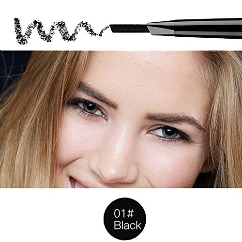 Magical Halo Precisie Waterdichte Brow Liner Double Ended Wenkbrauwpotlood Met Wenkbrauwborstels Gereedschap Zwart Pak van 1(kleur 1)