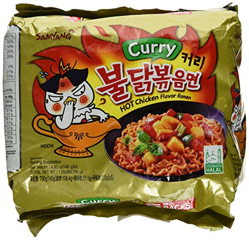 Samyang Hot chicken Curry flavor ramen Halah 4.93 oz (140g) x5
