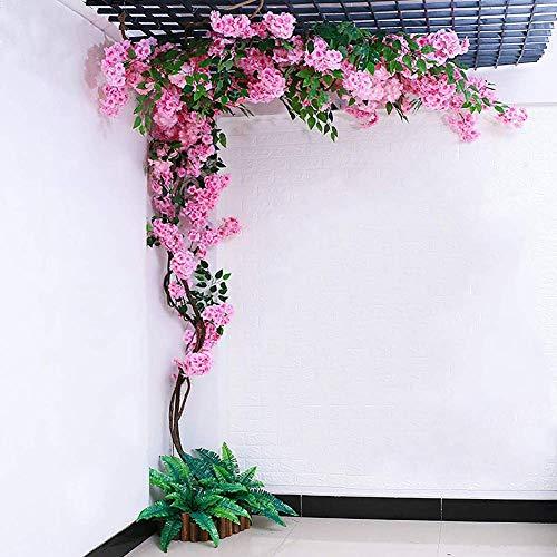 LNDDP Künstliche Kirschblütenblumen Wunderschöne gefälschte Weinrebenblumen für Haushochzeitsfeier Gartenbüro Dekoration Seidenpflanzen